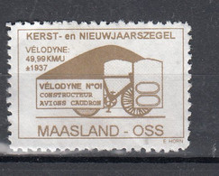 Nederland Lokale Post Maasland-Oss, Kerstmis, Christmas, 1937 Velodyne, Fiets, Bike - Usados