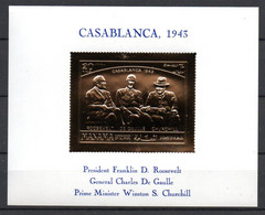 J1-6 Timbre En OR 23 Carats ** Présidents Roosevelt, De Gaulle Et Churchill  Casablanca 1973 A Saisir !!! - Manama