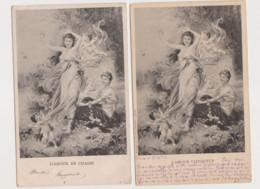2 Cartes Fantaisie Dessinées / L' Amour En Chasse , L'Amour Vainqueur ; Jeunes Femmes , Angelots - Angels