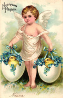 Ostern, Engel, Eier Mit Küken, Prägekarte, 1906 - Easter