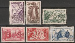 Madagascar 1937 Sc 191-6 Yt 193-8 Set MH* - Unused Stamps