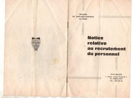 Notice Relative Au Recrutement Du Personnel Brigade De Sapeurs-Pompiers De Paris - Format : 21x13.5 Cm - Brandweer