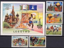 Lesotho 1980 Olympic Games Moscow, Football Soccer, Running Etc. Set Of 5 + S/s MNH - Zomer 1980: Moskou