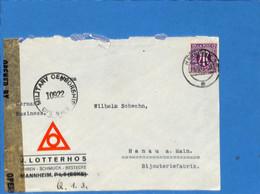 Allemagne Bizone 1945 Lettre De Mannheim, Avec Censure (G1793) - Zona Anglo-Americana