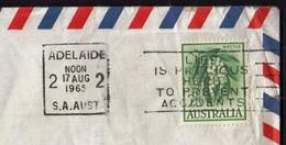 Australia Adelaide 1965 / Life Is Precicus Help To Prevent Accidents, Machine Stamp, Slogan, Wattle - Cartas
