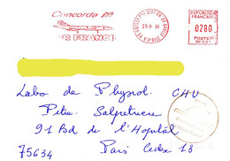 France 1995, Concorde / Air France / Red Meter / EMA / Circulated Cover - Airplanes