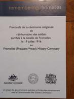 FROMELLES PROTOCOLE DE LA CEREMONIE RELIGIEUSE REINHUMATION DES SOLDATS TOMBES LE 19 JUILLET 1916 - 1914-18