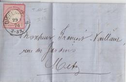 Lettre De Thionville Obl. Diedenhoffen (T 111) Le 29/7/74 Sur TP 1g Rose N° 16 Pour Metz (in Metz Eingegangen) - Alsazia-Lorena