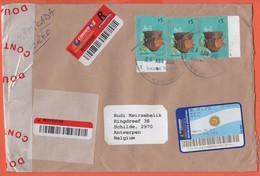 ARGENTINA - 2005 - 3 Stamps + 0,75 Postage Paid - Registered - Medium Envelope - Viaggiata Da Martinez Per Schilde, Belg - Storia Postale