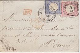 Lettre De Ars Sur Moselle Obl. Ars An Den Mosel (T 111) Le 21/2/74 Sur TP 1 + 2g N° 16, 17 Pour Nancy + PD - Elzas-Lotharingen