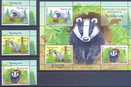 2021. Kyrgyzstan, Fauna, Asian Badger, 3v + S/s Perforated, Mint/** - Kyrgyzstan