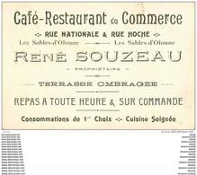 Carte De Visite 85 Les Sables-d'Olonne *** Café Restaurant Du Commerce *** Rue Nationale & Hoche. René Souzeau - Visiting Cards
