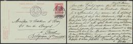 EP (réponse) Au Type 10ctm Rouge Grosse Barbe + Cachet à Pont Luzern (Suisse, 1912) > Gand - Cartes Postales [1871-09]
