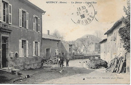 QUINCY -  1928 - PRES DE STENAY -  LA MAIRIE -  GRAND RUE - Stenay