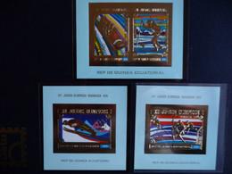 (b9)  Guinea Equatorial, Winter Olympic Games 1976, Gold Foil, 3 Blocks IMPERF MNH - Guinea (1958-...)