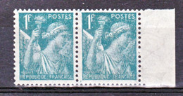 France 650 A Variété Filigrane En Paire Iris Neuf ** TB MNH Sin Charnela Cote 30 - Abarten: 1941-44 Ungebraucht