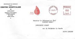 France - Année 1973 - EMA Sur Enveloppe 220 X 110 - Don Du Sang - Devoir Civique - Cad Lorient 29 9 73 - - Unclassified