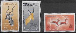 SOMALIA AFIS - 1958 - ANTILOPI - POSTA AEREA SERIE 3 VALORI  - NUOVA MH* (YVERT AV 72\74 - MICHEL 350\2) - Somalia (AFIS)