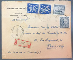 Belgique Enveloppe Recommandée De TILFF 11.4.1947 Pour Paris - (A1228) - 1936-1951 Poortman