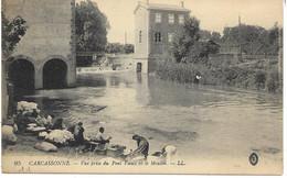 11 - AUDE - CARCASSONNE - N° 95 - Vue Prise Du Pont Vieux Et Le Moulin - Laveuses - Bon Cliché - TBE - - Carcassonne