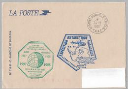 30 - Pli De Service TERRE ADELIE Du 24.8.1997 -  Année GEOPHYSIQUE INTERNATIONALE - 47ème MISSION. - Cartas
