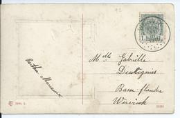 Fantasiekaart  Met OCB 81 - Afstempeling WERVIK - COBA 10 - 1893-1907 Wappen