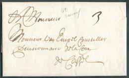 LAC De TOURNAY Le 26 Avril 1693 Vers Cassel; Port '3' (encre).TB - 18113 - 1621-1713 (Spanish Netherlands)