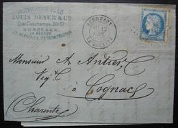 Bordeaux La Bastide 1875 Louis Meyer & Cie Marchand De Bois, Pour Cognac - 1849-1876: Classic Period