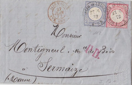 Lettre De Heming Obl. Hemminges (T 111) Le 27/6/72 Sur TP 1 + 2g N° 16, 17 Pour Sermaize + PD Et Cachet D'entrée - Elzas-Lotharingen
