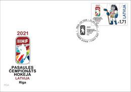 Latvia Lettland Lettonie 2021 (07) Ice Hockey IIHF World Championship - Riga - Hedgehog Spiky (unaddressed FDC) - Lettland