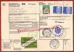 Paketkarte, Fenster U.a., Langenthal Ueber Basel Freiburg Velbert Nach Heiligenhaus 1975 (4423) - Lettres & Documents