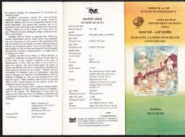INDIA, 1998, BROCHURE WITH INFORMATION,  50th Death Anniversary Of Mahatma Gandhi, - Brieven En Documenten