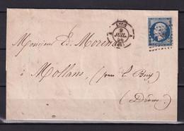 D 184 / NAPOLEON N° 14 SUR LETTRE - 1853-1860 Napoléon III.