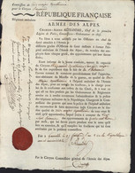 1793 Nomination Aide Major Apothicaire Dans Hôpital Ambulant Armée Des Alpes An 2 Autographe Charles Alexis ALEXANDRE - Autographs