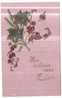 Gauffrée Art Nouveau Fleurs Mes Meilleurs Voeux - Anno Nuovo