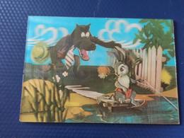 Ukraine. Wolf And Bunny - OLD  USSR Postcard 3D Stereo PC 1972 - Cartoline Stereoscopiche