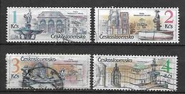 TCHECOSLOVAQUIE   -  1988.   Y&T N° 2771 à 2774 Oblitérés. Fontaines.   Série Complète. - Gebruikt