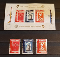 SURINAME 50th ANNIVERSARY OF THE  FIRST  EUROPA STAMP M/SHEET + SET  PERFORED MNH - 2006