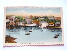 A Vendre  Carte Colorisée  De Belle Ile En Mer. Le Joli Port De Sauzon    Petit Prix - Belle Ile En Mer