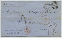 LàC 1863 De Melbourne (Australie) Pour Nantes Via Marseille. - 1849-1876: Klassieke Periode