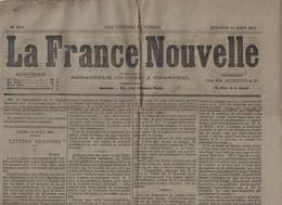 LA FRANCE NOUVELLE 25 08 1875 - REIMS - HERZEGOVINE - ESPAGNE CARLISTE - UNIVERSITES CATHOLIQUES - LA CHAPELLE ST MESMIN - 1850 - 1899