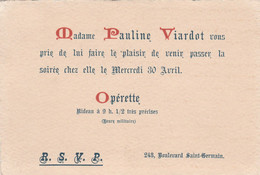 Pauline VIARDOT (née GARCIA) CANTATRICE Mezzo-soprano D'origine Espagnole (1821-1910) Carton D'invitation Chez Elle - Documenti Storici