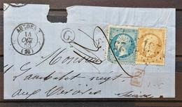 05 - 21 - France - Fragment N° 21 Et 22 Oblitération GC 251 Auxonne + Cachet De Facteur G - 1862 Napoleon III
