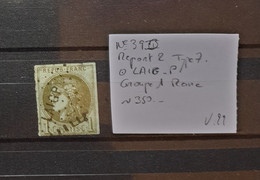 05 - 21 - France N°39B - Report 2 - Type 7 Oblitéré Ambulant LAIG-P - Rare - Cote : 350 Euros - 1870 Bordeaux Printing