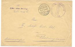 German Navy Letter From February 1915 (WW1 Marine Feldpost) - Marine Stempel 1 Matrosen Artillerie Regiment On Back - Covers & Documents