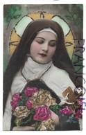 Sainte Thérèse De L'Enfant-Jésus, Crucifix Et Fleurs. Paillettes. - Santos