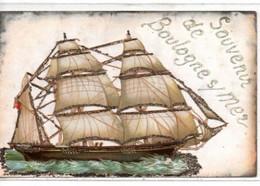 Souvenir De Boulogne-sur-Mer- Chromo Collé Avec Brillants - Boulogne Sur Mer