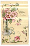 "Gauffrée Art Nouveau Vase Fleurs Dorure "" Herzlichen Gluckwunsch Zum Namenstage "" - Non Classificati"