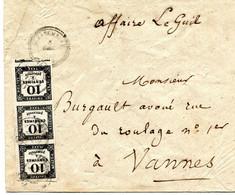 Enveloppe De Questembert Pour Vannes Taxe 30c Yv No°2 Type 2 En Bande De 3très Grandes Marges  3 Décembre 1862 Sup - Postage Due Covers