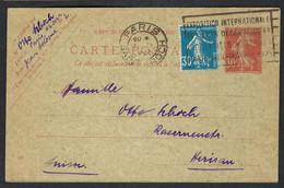 FRANCE 1925: CP Entier De 30c De Paris Pour La Suisse, Compl. D'affr. De 30c - Postales Tipos Y (antes De 1995)